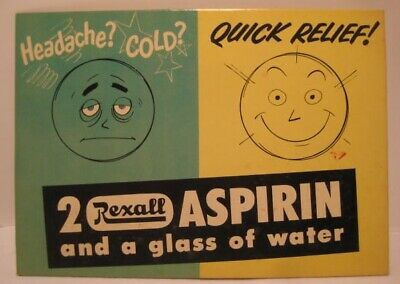 Old Cardboard Rexall Drug Store Advertising Sign for Aspirin - Health Care