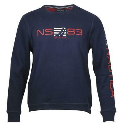 Nautica Men's Signature Logo Long Sleeve Crew Neck Navy Sweatshirt Sz: M
