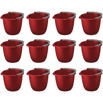 Sterilite Pail With Spout And Handle 10 Quart Red Plastic 1120 Fits Mop, 12-Pack