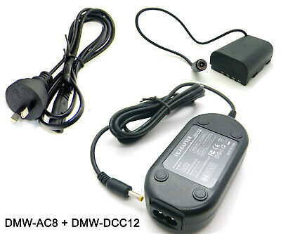 AC Adapter Power Supply Charger For Panasonic DMW-AC8 + DMW-DCC12 DC Coupler