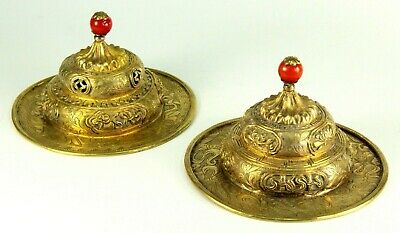 ~Antique Pair of Gilded Silver Tibetan / Chinese Temple Chimes Coral Red Finials