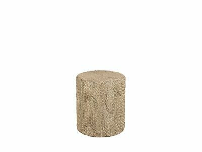 Modern Seagrass Accent Table Boho End Table Mahogany Beige Maida