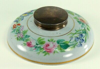 ~ Antique French Faience Desktop Inkwell Ink Well w. Sterling Silver Lid