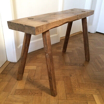 Antique Solid Oak Wooden French Rustic Pig Bench Seat Side Table Country Kitchen