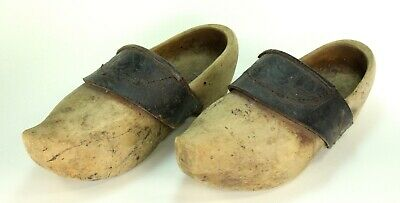 ~Antique Wood & Embossed Leather Normandy French Pair Wooden Clogs Shoes