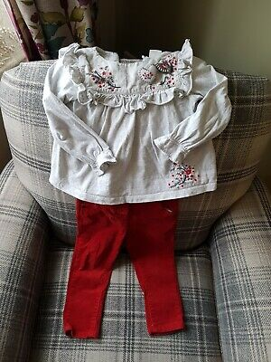 Next girls christmas autumn 12-18 and 18-24 outfit top cord skinny trousers