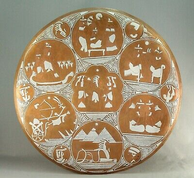 """~ Antique EX-LARGE 20"""" Silver on Copper CAIRO WARE Neo-Egyptian Platter Tabletop"""