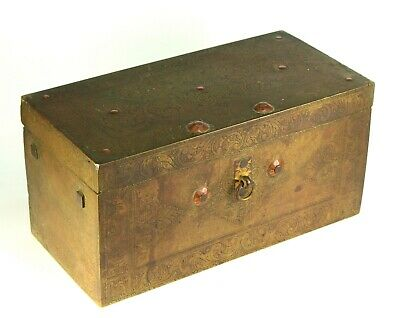 ~ Antique 18th C. Chinese Brass Chest Strong Box Wood Lining Inside Large Heavy