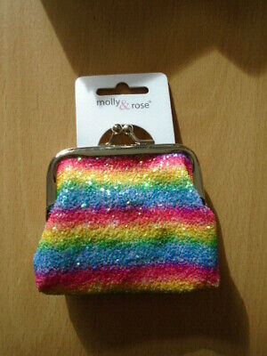 Rainbow sequin / glitter purse with silver ball snap clasp girls womens NEW