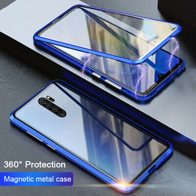 For Xiaomi Redmi Note 8 7 Pro 360° Magnetic Adsorption Tempered Glass Case Cover