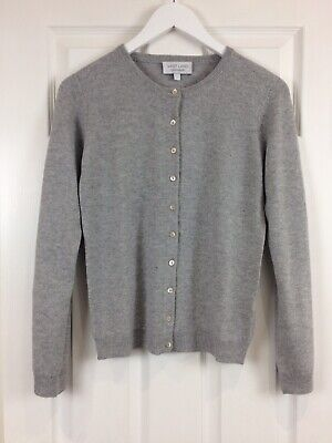 VAST LAND 100% Cashmere Crew Neck cardigan Soft Lightweight  Lovely BNWT Grey S