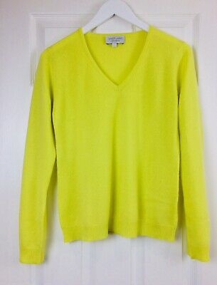 VAST LAND 100% Cashmere V Neck  Soft Lightweight  Citron Lovely BNWT Gift Yellow