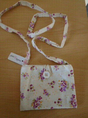 Floral printed linen fabric purse bag long handle and button loop fastening NEW