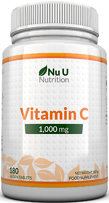 Vitamin C 1000mg 180 Tablets (6 Month's Supply) Ascorbic Acid by Nu U Nutrition