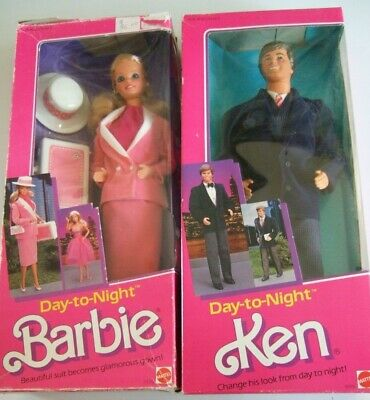 Set Of 1984 New In Boxes Barbie And Ken Dolls Day-To-Night Mattel 7929 & 9019