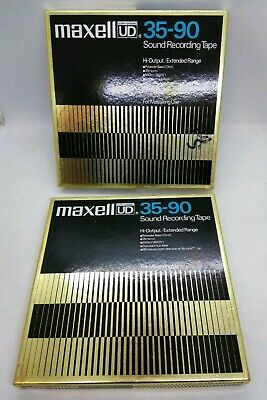 "2 Maxell Ud 35-90 Tape Reel To Reel Audio Tapes 7"" Used"