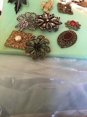 Job Lot Collectionof Vintage Brooches Costume Jewellery. X 9. Pieces