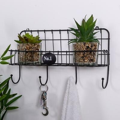 Wire Wall Shelf With Hooks Black Metal Storage Unit Wall Mounted Shabby Vintage