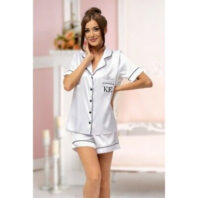 Ladies Personalised Initial Monogram WHITE Satin Short Sleeve Pyjama Set Pyjamas