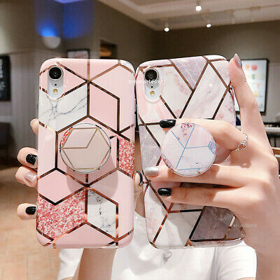 Geometric Marble Case For iPhone 8 7 6 Plus XS Max XR With Pop Up Holder Socket