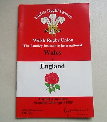 Ru Wales V England-April 20Th 1985-Arms Park-Rugby Union Programme ^