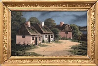 Unknown Painter - Old Landhäuser in the Sunlight - Sweden - Oil Painting