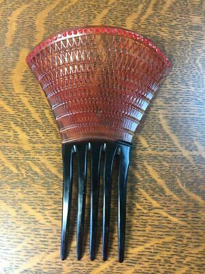Antique Vintage Victorian Large Faux Tortoise Shell Red Rhinestone Fan Hair Comb
