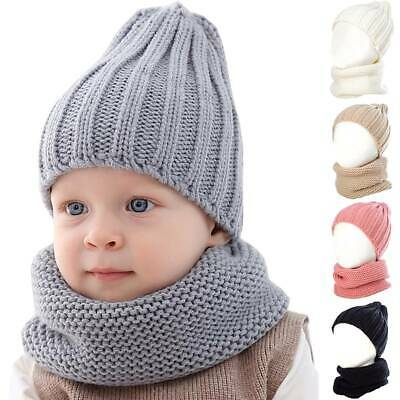 UK Toddler Baby Girls Boys Plain Winter Warm Knitted Beanie Hat Cap + Scarf Sets
