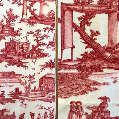 Stunning French Antique C1920 Sample Toile De Jouy Cotton Fabric 75/80cms