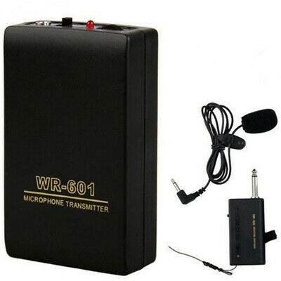Clip Mic System FM Transmitter Receiver Lavalier Lapel Wireless Microphone