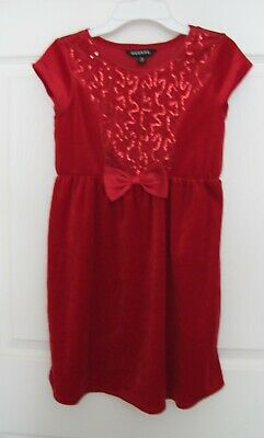 George Girls Red Velvet Velour Sequins Christmas Holiday Party Dress Size 7-8