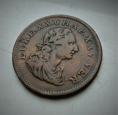 1818 George Iii Ireland Penny Token, Lovely Scarce 201 Year Old  Coin