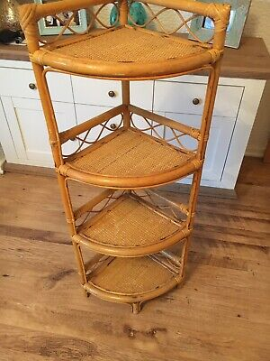 Retro Bamboo Wicker Corner Stand Plant Stand Great Condition 70s