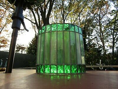 Antique Stained Glass Shades Cylindrical Shade Or Hanging Lamp 9Lbs 14Hx12W
