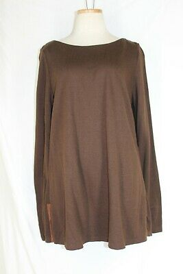 RALPH LAUREN Boat Neck Tunic LARGE Brown Viscose Wool Top Long Sleeve