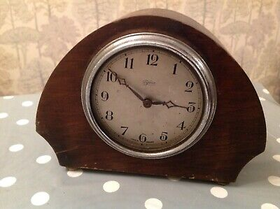 Antique Tyme Mantle Clock Marked CWS Ltd. London 18x14x8cm Untested