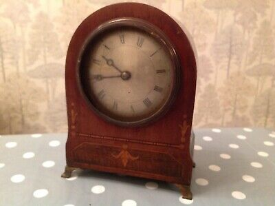 Antique Mantle Clock Inlaid Case And Parts For Restoration 14x18x8cm Untested