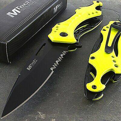 "8.25"" MTECH USA YELLOW SPRING ASSISTED FOLDING POCKET KNIFE EDC w/ BOTTLE OPENER"