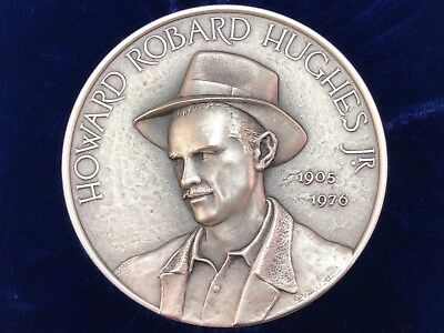 Howard Robard Hughes High Relief Sterling Silver Medal, Franklin Mint, Excellent