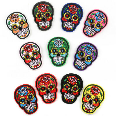 Flower Skull Embroidered Sew Iron On Badge Patches Clothing Fabric Applique DIY