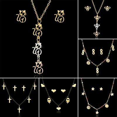 Fashion Stainless Steel Crystal Cross Pendant Necklace Earrings Jewelry Set Gift