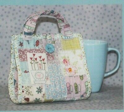 PATTERN - Love a Cuppa - pieced & embroidered mug bag PATTERN - The Birdhouse