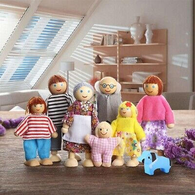 Sweet Family Dolls House Family of 7 flexible wooden doll house people figures