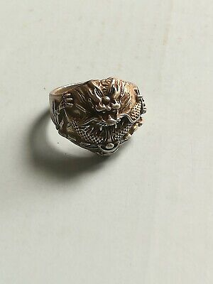 Collection of old xizang China silver hand-carved dragon ring decoration