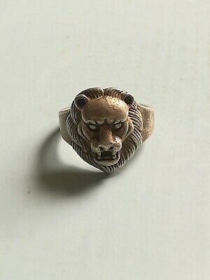 Collection of old xizang China silver hand-carved lion ring decoration