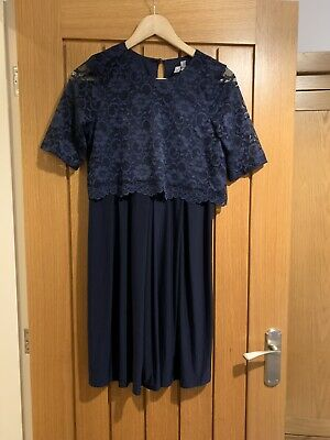 Asos Maternity Nursing breastfeeding Dress Lace Navy Size 10 - Christmas Wedding