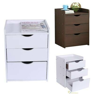 Modern Bedside Table Cabinet Chest of Drawers Nightstand 3 Drawers Bedroo