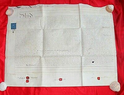 Vellum indenture Antique legal document Double sheet Merthyr Tydfil 1853 6M