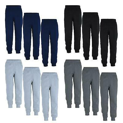 Kids Plain Pants Girls Jogging Fleece Boys Tracksuit Bottoms Bundle (Pack of 3)
