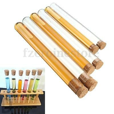 10x 50ml Glass Test Tube Round Bottom with Cork Stopper Wedding Candy 20x200mm